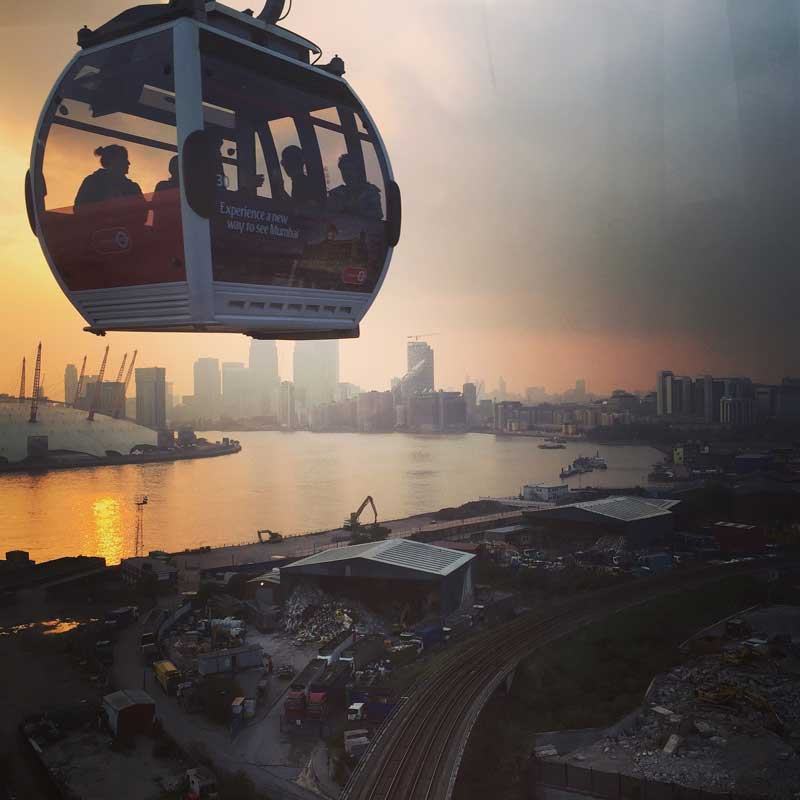 London cable car from north Greenwich